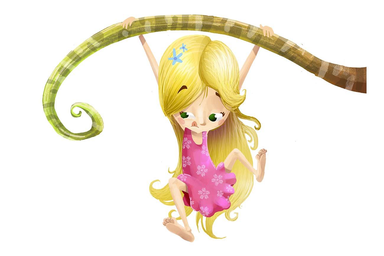 Illustration of girl and stem for children's short story Thumbelina