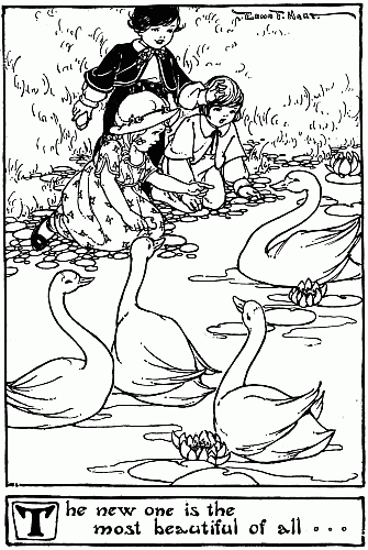 Original Illustration of swans on pond in The Ugly Duckling bedtime story