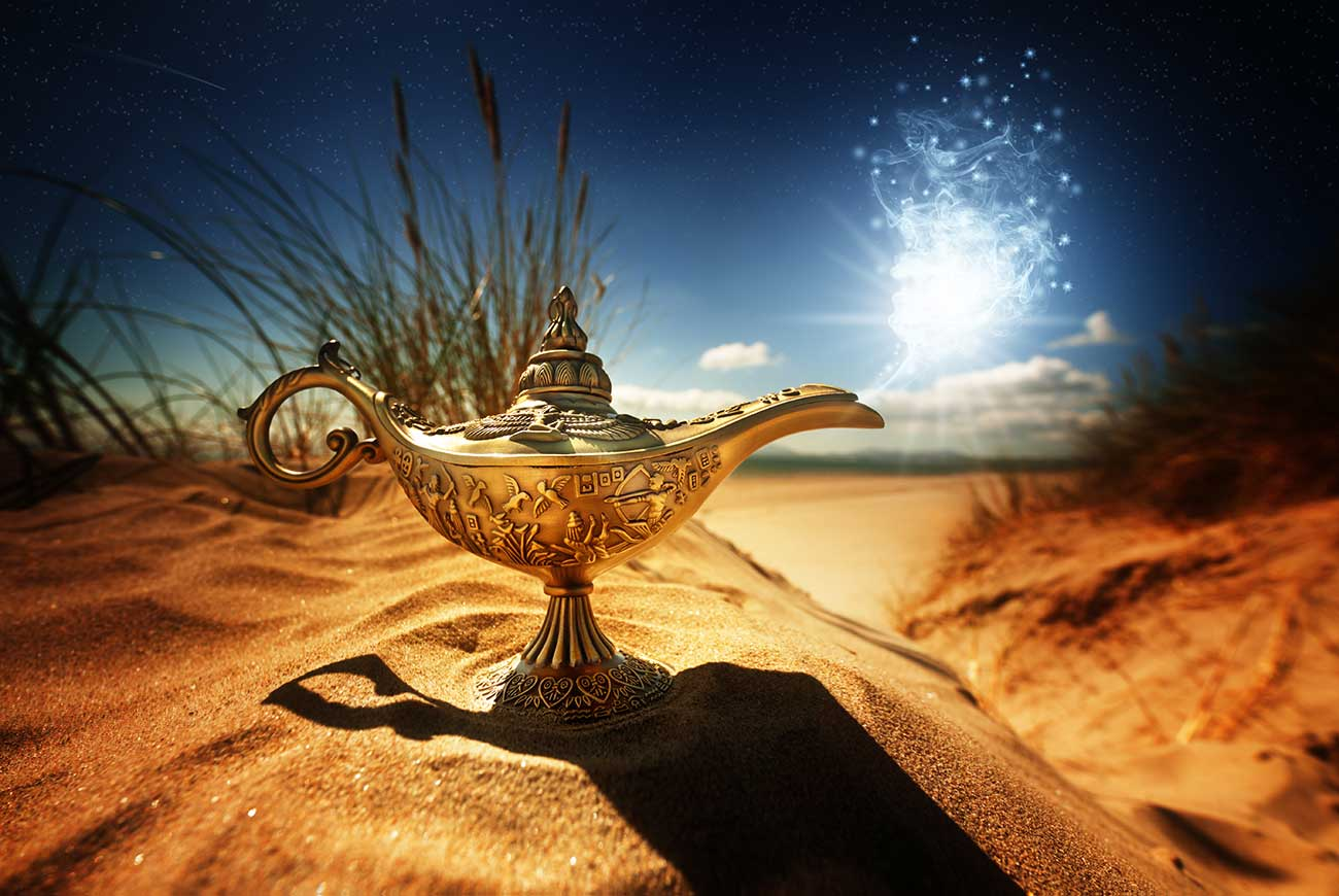 Photo illustration of magic lamp for Aladdin short story for kids