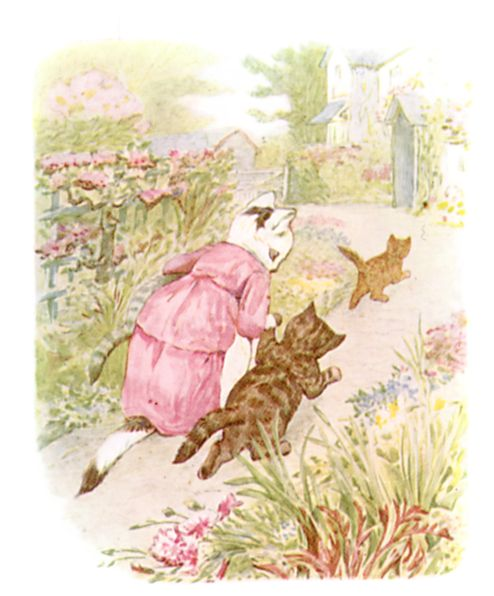 Beatrix Potter illustration of mother and baby cats on garden path for bedtime story Tom Kitten