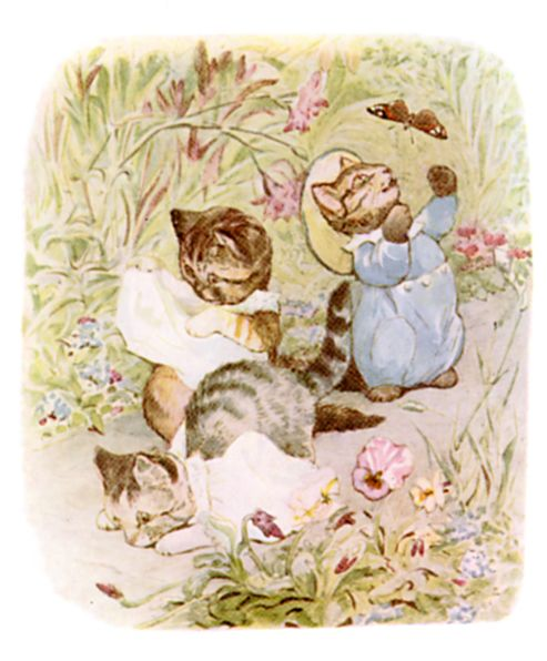 Beatrix Potter illustration of kittens in garden with butterfly for bedtime story Tom Kitten