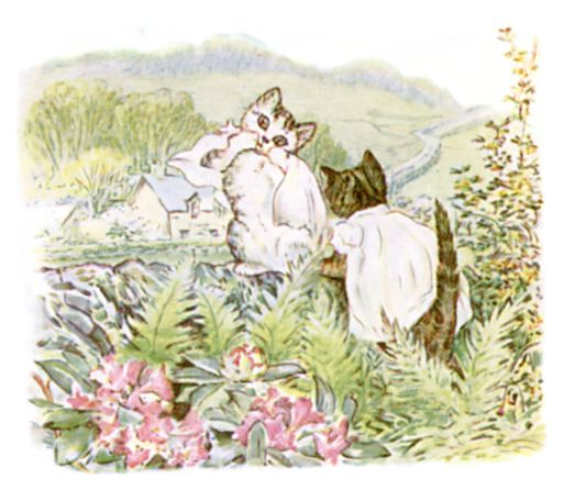 Beatrix Potter illustration of kittens frolicking for bedtime story Tom Kitten