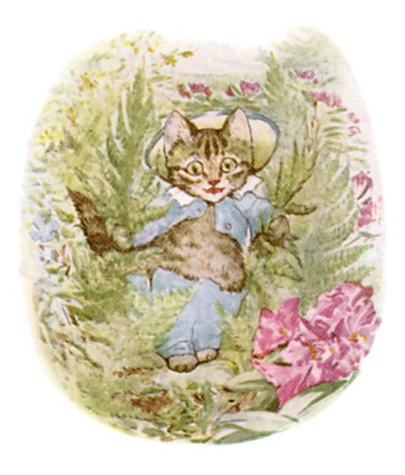 Beatrix Potter illustration of cat for bedtime story Tom Kitten