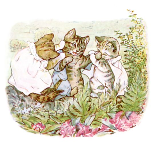 Beatrix Potter illustration of cheeky kittens for bedtime story Tom Kitten