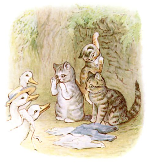 Beatrix Potter illustration of kittens and geese for bedtime story Tom Kitten