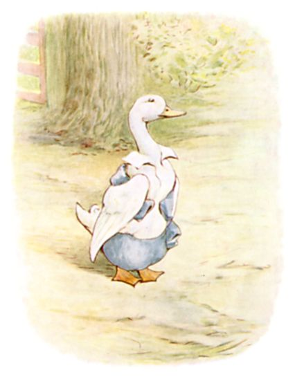 Beatrix Potter illustration of goose in clothes for bedtime story Tom Kitten