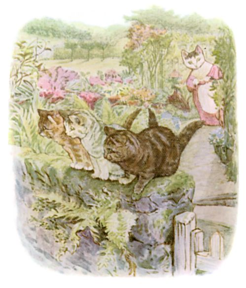 Beatrix Potter illustration of kittens playing in garden for bedtime story Tom Kitten
