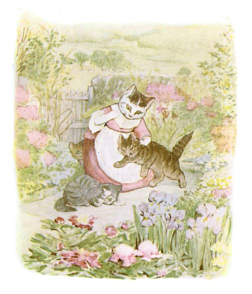 Beatrix Potter illustration of mother and baby cat for bedtime story Tom Kitten