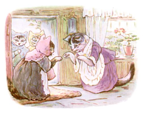 Beatrix Potter illustration of mother cats talking for bedtime story Tom Kitten