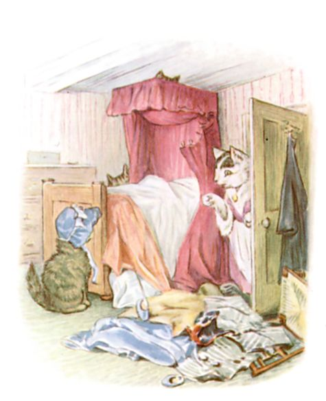 Beatrix Potter illustration of messy bedroom for bedtime story Tom Kitten