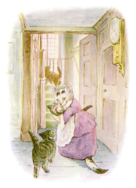 Beatrix Potter illustration of mother cat and baby for bedtime story Tom Kitten