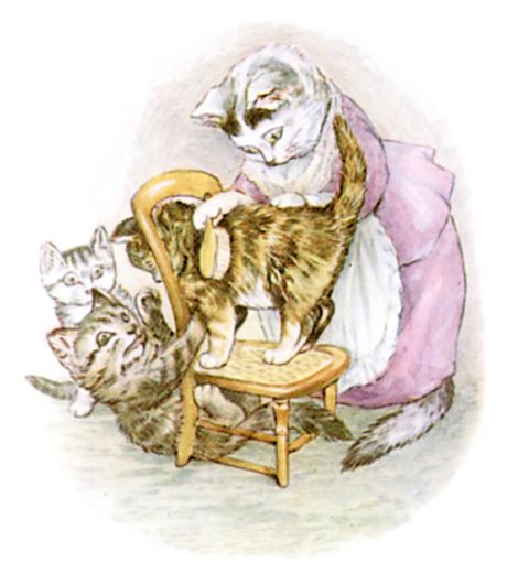 Beatrix Potter illustration of mother brushing baby cat for bedtime story Tom Kitten