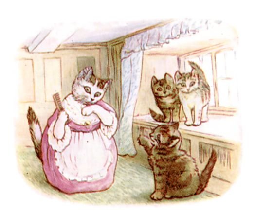 Beatrix Potter illustration of cat house indoors for bedtime story Tom Kitten