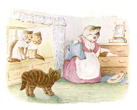 Beatrix Potter illustration of mother and baby cats at home for bedtime story Tom Kitten