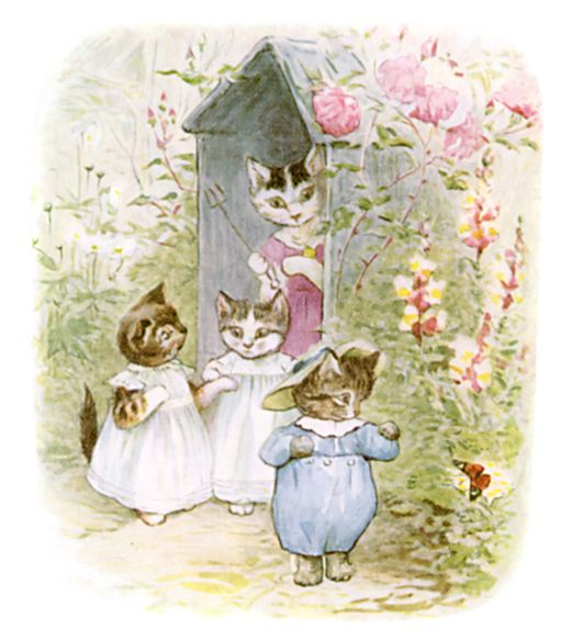 Beatrix Potter illustration of kittens at front door for bedtime story Tom Kitten