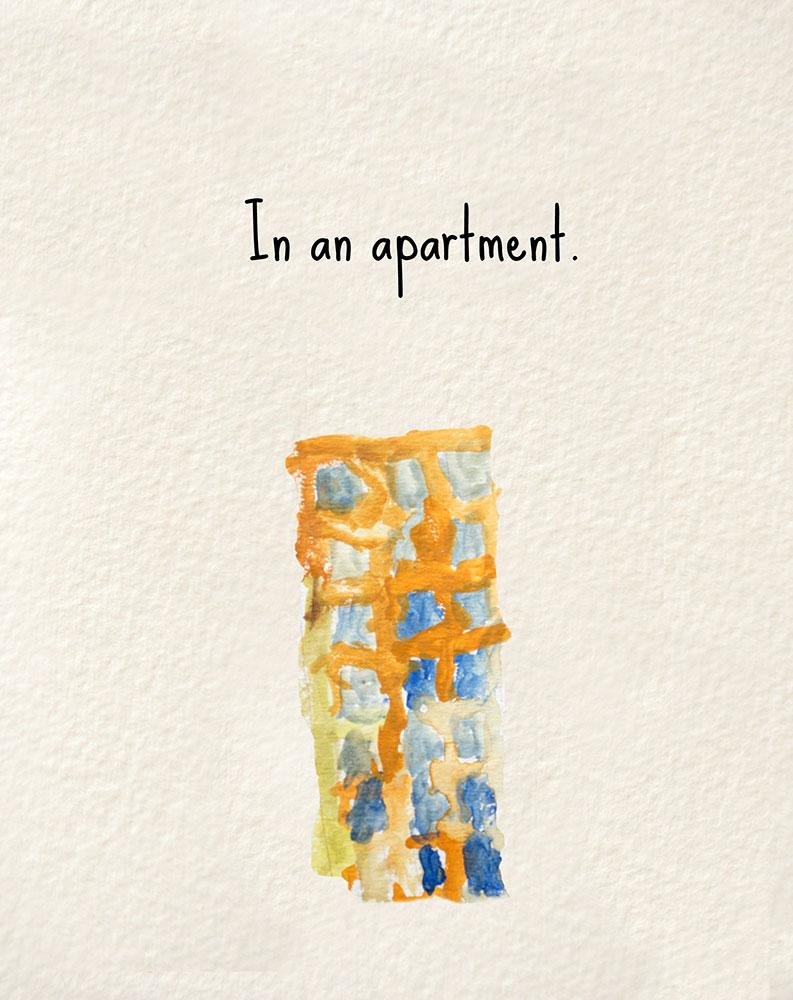 Illustration of apartment for bedtime story Nanna's Heart