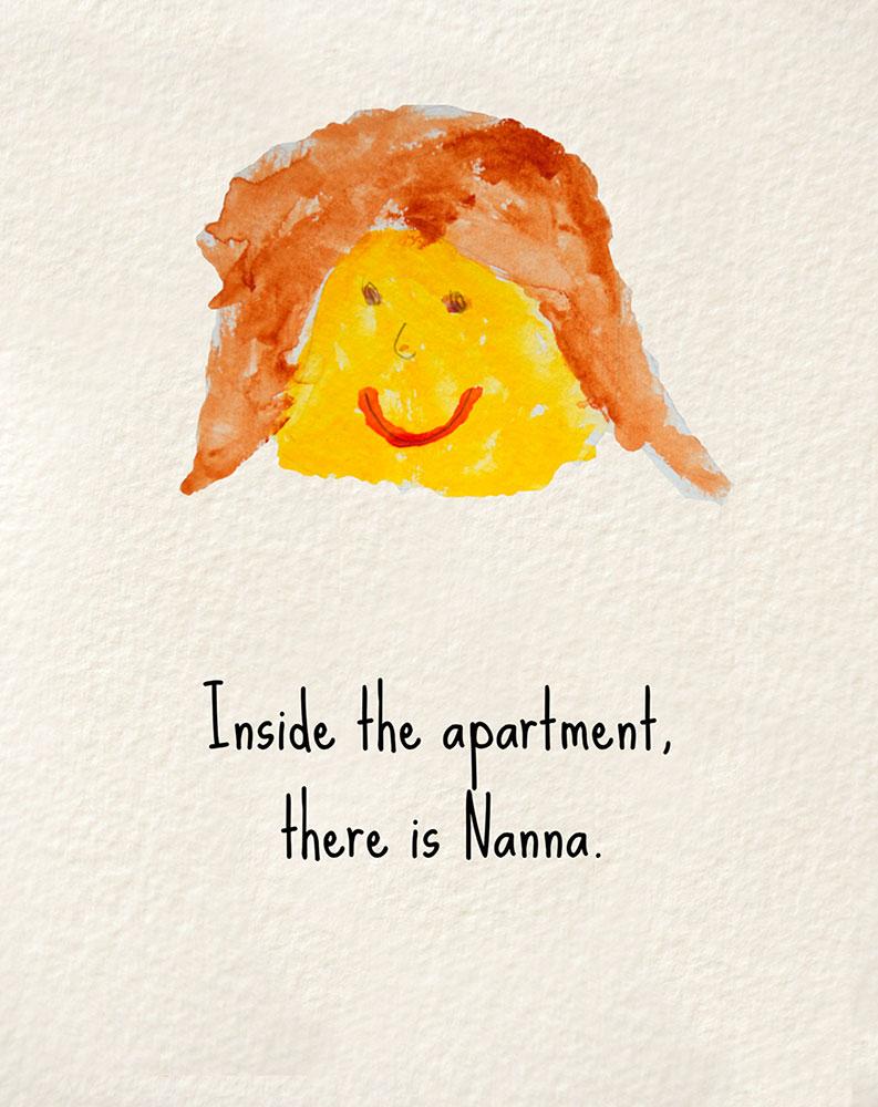 Illustration of grandmother for bedtime story Nanna's Heart