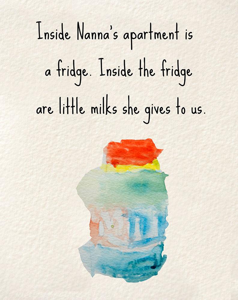Illustration of milk bottle for bedtime story Nanna's Heart
