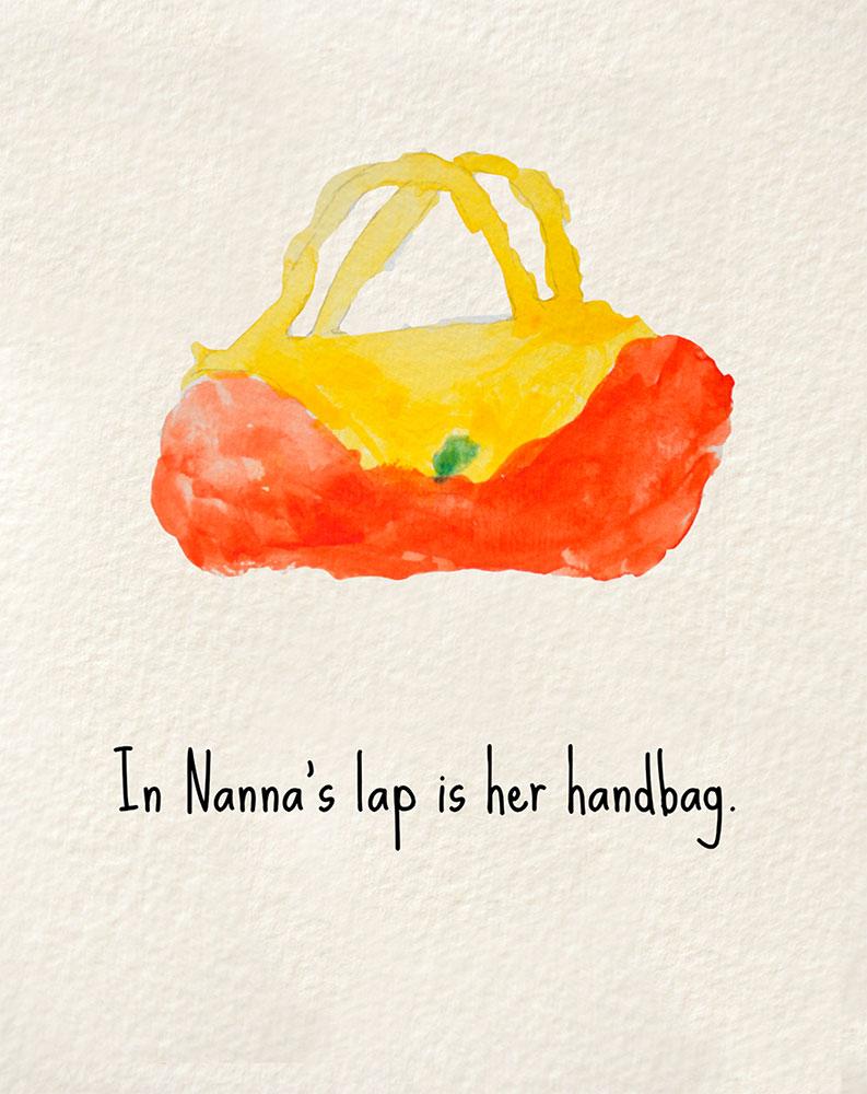 Illustration of handbag for bedtime story Nanna's Heart