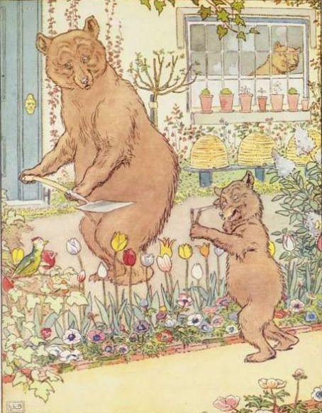 Vintage illustration of bears in garden, for Goldilocks and the Three Bears bedtime story