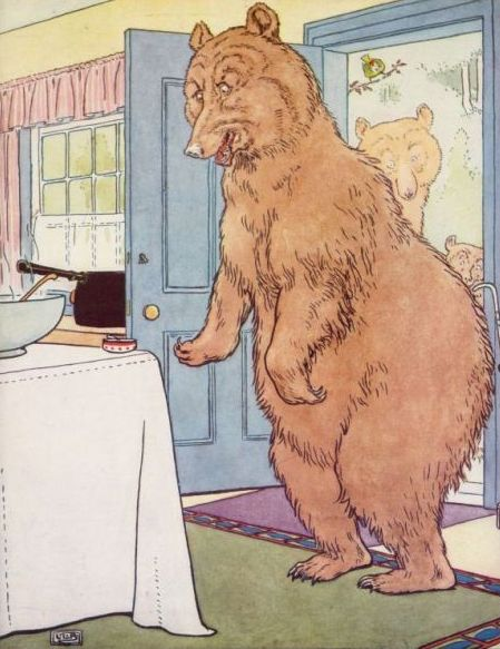 Vintage illustration of bear coming home in Goldilocks and the Three Bears bedtime story
