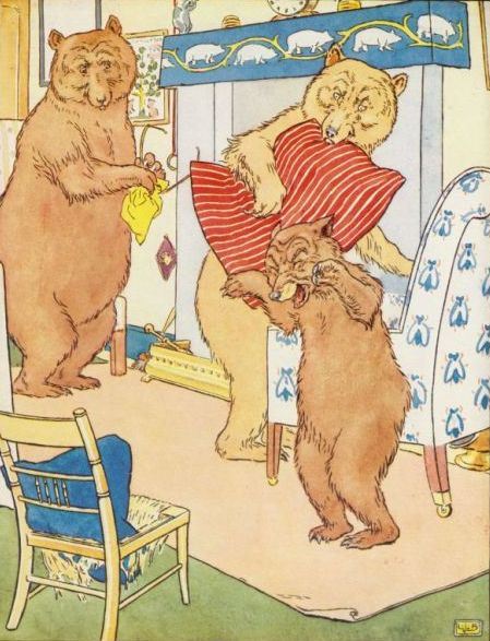 Vintage illustration of baby bear crying at chair for Goldilocks and the Three Bears bedtime story