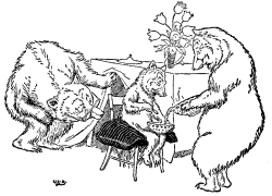 Vintage illustration of baby bear on his own chair for Goldilocks and the Three Bears bedtime story