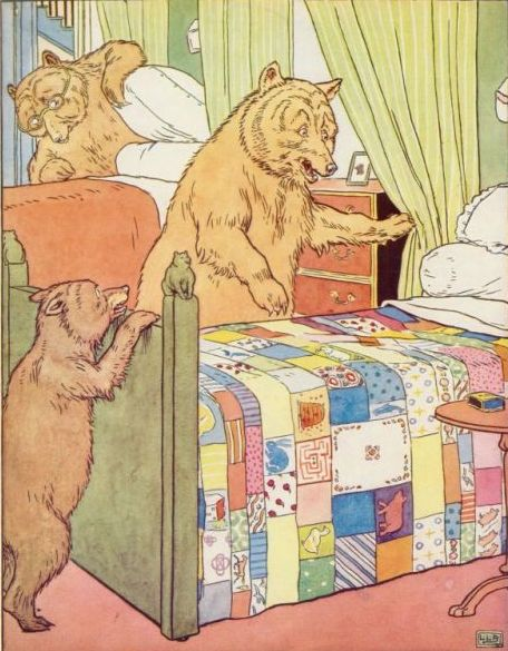 Vintage illustration of Poppa bear and baby bear beside bed in Goldilocks and the Three Bears bedtime story
