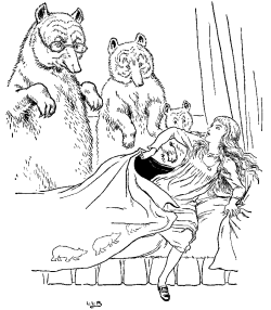 Vintage illustration of three bears discovering Goldilocks in Goldilocks and the Three Bears bedtime story