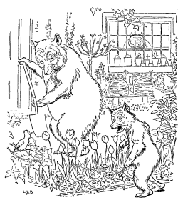 Vintage black and white illustration of bears digging, for Goldilocks and the Three Bears bedtime story