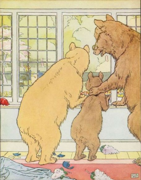 Vintage illustration of three bears at window in Goldilocks and the Three Bears bedtime story