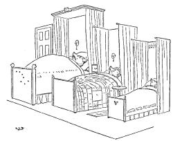 Vintage illustration of three bears bedroom in Goldilocks and the Three Bears bedtime story