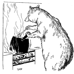 Vintage black and white illustration of bear cooking porridge for Goldilocks and the Three Bears bedtime story