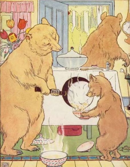Vintage color illustration of bear pouring porridge for baby bear in Goldilocks and the Three Bears bedtime story