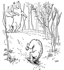 Vintage illustration of baby bear doing somersault in Goldilocks and the Three Bears bedtime story