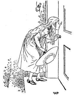 Vintage illustration of Goldilocks peering in door keyhole for the Three Bears bedtime story