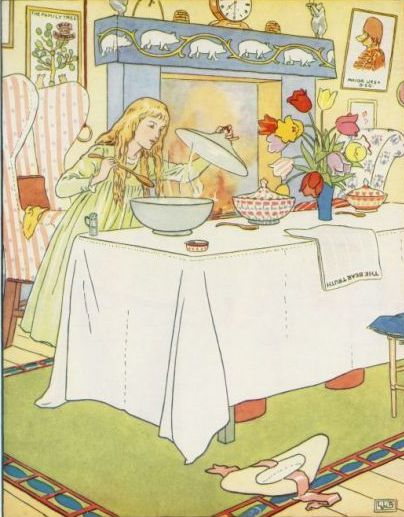 Vintage illustration of Goldilocks looking at porridge for the Three Bears bedtime story
