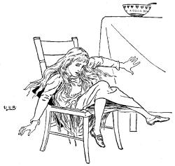 Vintage illustration of Goldilocks breaking baby bear's chair for the Three Bears bedtime story