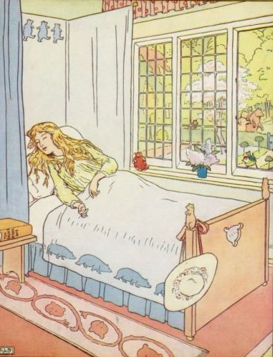 Vintage illustration of Goldilocks sleeping in baby bear's bed for the Three Bears bedtime story
