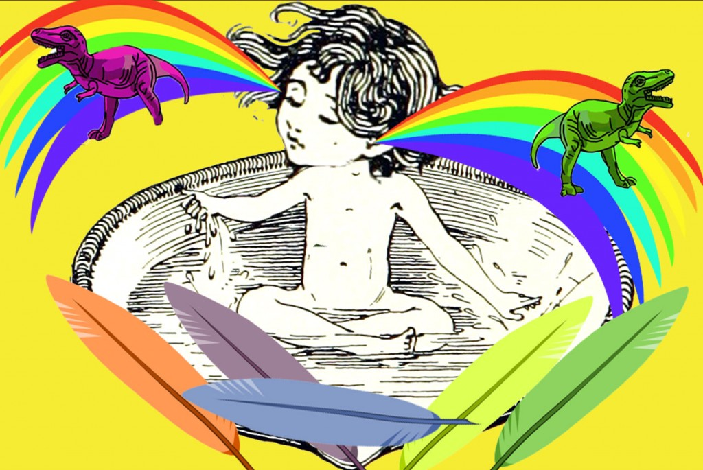 Illustration of child ranbow brains for short story for kids, Can I Sleep With You Tonight