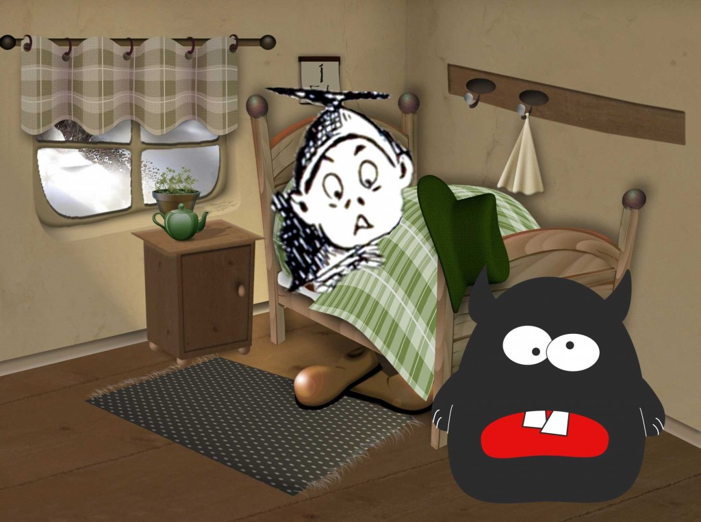 Illustration of bed monster for short story for kids, Can I Sleep With You Tonight