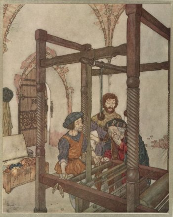 Vintage illustration of tailors making invisible suit, for The Emperor's New Clothes bedtime story
