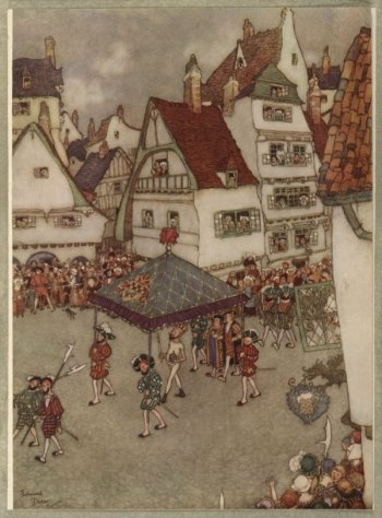 Vintage illustration of naked king in village crowd, for The Emperor's New Clothes bedtime story