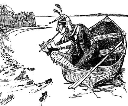 Original illustration of piper and rats in river for Pied Piper of Franchville bedtime story