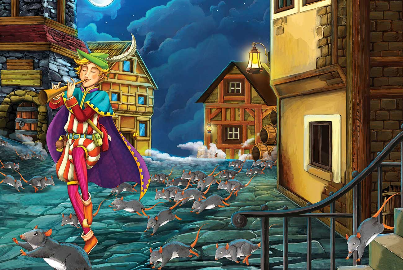 Illustration for the Pied Piper of Franchville bedtime story