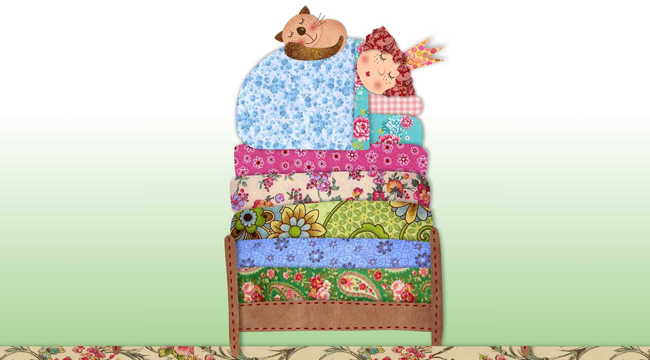 Illustration of princess sleeping on mattresses for short story for kids, The Princess and the Pea