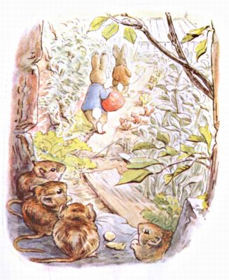 Original Illustration of mice watching rabbits on garden path, for Beatrix Potter Benjamin Bunny bedtime story