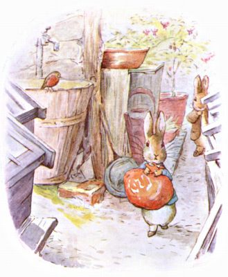 Original Illustration of rabbits with red bag, for Beatrix Potter Benjamin Bunny bedtime story