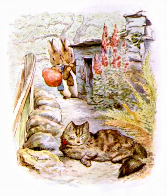 Original Illustration of rabbits watching cat, for Beatrix Potter Benjamin Bunny bedtime story