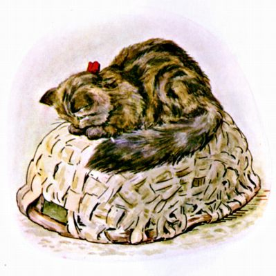 Original Illustration of black cat sitting on upside down basket, for Beatrix Potter Benjamin Bunny bedtime story